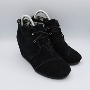 TOMS Desert Wedge Lace-Up Ankle Boots 7.5